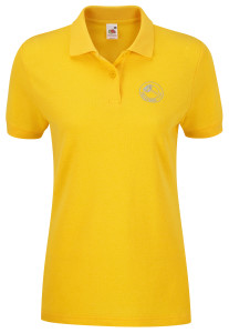 Lady fit polo shirt (yellow) £19.Also available in black, royal blue, fuschia, bottle green, navy blue, orange, purple, red, and white. Other colours available on request.