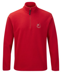 Quarter zip microfleece (red) £29.50. Also available in black, royal blue, bottle green, and navy blue.